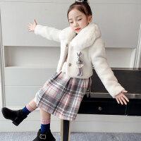 女童秋冬装套装2018新款韩版儿童休闲呢子连衣裙洋气毛呢两件套潮 白色