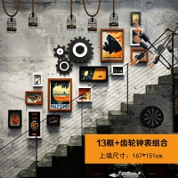 楼梯工业风齿轮钟表装饰画组合酒吧水泥墙面复古个性饰装壁饰墙贴