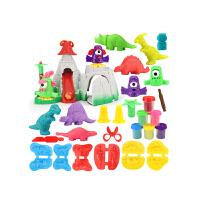 儿童3d彩泥橡皮泥模具工具套装恐龙粘土男孩手工玩具 恐龙火山+6罐泥
