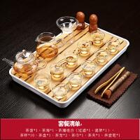 功夫茶具套装文艺家用简约现代哥窑整套日式茶盘陶瓷汝窑紫砂茶杯