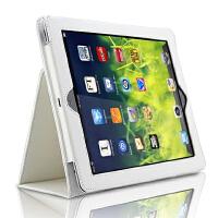 9.7寸ipad Air2保护套苹果5代爱派4平板电脑6外壳a1474支架 ipad5/6 -荔枝纹-白色+送钢化膜