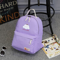 日韩版小清新双肩包女包帆布印花休闲旅行包学院风学生书包背包潮 紫色 云朵