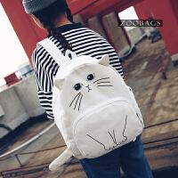 双肩包女韩版uzzlang撞色帆布背包日系可爱猫咪个性学生包 书包女