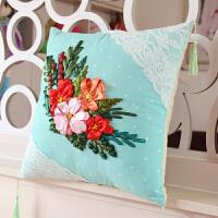 丝带绣抱枕新款DIY带花边微苏5D印花立体绣非十字绣沙发靠垫 一对 带芯
