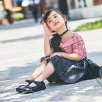 拥抱熊儿童皮鞋黑色公主单鞋中大童小学生校鞋表演出鞋女童白色皮鞋百搭跳舞鞋子