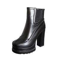 2018秋冬短靴防水台圆头马丁靴个性粗跟高跟性感踝靴加绒棉短靴潮软底 黑色