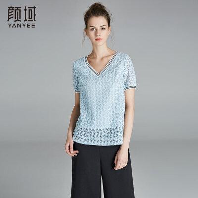颜域2018新款V领短袖T恤女装罗纹撞色蕾丝衫镂空勾花短款上衣夏装
