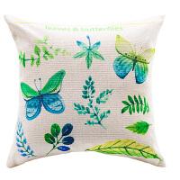 清新美式田园北欧简约植物棉麻抱枕套腰枕汽车靠背垫办公沙发靠枕 两只蝴蝶D