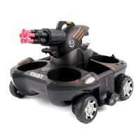 ?遥控水陆两栖坦克船坦克玩具车四驱充电可发射水遥控汽车漂移车玩具? C款 酷黑色【标靶款】变形射标靶