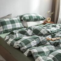 简约水洗棉四件套双人床单被套裸睡条纹床上用品床笠套件