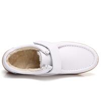 冬季真皮平底白色护士鞋棉鞋软底工作鞋平跟加绒保暖妈妈女鞋真皮