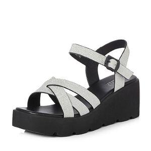 BASTO/百思图2018夏季专柜同款人造革简约纯色坡跟女凉鞋DB085BL8