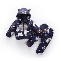 宝宝羽绒服套装0-1周岁婴儿冬装2韩版潮3半男孩女童加厚小童衣服
