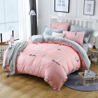 春秋床上用品四件套AB版棉绒法兰绒棉带绒被套单双人1.5米