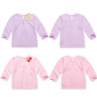 蝴蝶结纯色长袖T恤 0-4岁女宝宝春夏装纯棉打底上衣 婴儿衣服春