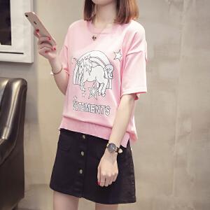 2018夏款韩版甜美学院风宽松百搭卡通印花破洞短袖T恤女