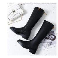 靴子女长靴女秋冬2018新款骑士靴高筒马靴皮靴女平底长筒靴瘦瘦靴 黑色 695-8加绒 跟高3.5cm