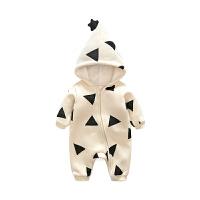女婴儿连体衣服秋冬季0岁3男1宝宝冬装6新生儿外套装加绒加厚棉衣