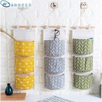 棉麻防水收纳挂袋悬挂式多层挂兜布艺门后杂物储物袋收纳袋
