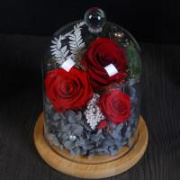 永生花礼盒装玻璃罩摆件成品保鲜玫瑰干花束情人节生日创意小礼物