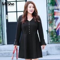 MsShe加大码女装2017新款秋装弹力针织V领收腰连衣裙M1740361