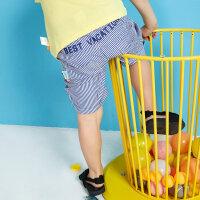 【5.16-5.17日抢购价:25】moomoo童装男童下装夏季新款卡通条纹薄款男幼童五分短裤