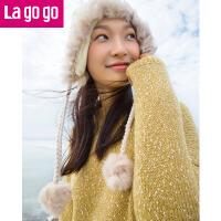 【清仓3折价79.8】Lagogo/拉谷谷2019年秋冬新文艺前短后长半高领针织衫