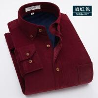 秋冬季纯棉保暖衬衫男长袖加绒加厚灯芯绒磨毛棉衣寸中年保暖衬衣