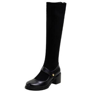 WARORWAR法国新品YG09-H623冬季欧美反绒粗跟鞋高跟鞋蕾丝女鞋潮流时尚潮鞋百搭潮牌弹力靴靴子骑士靴长靴