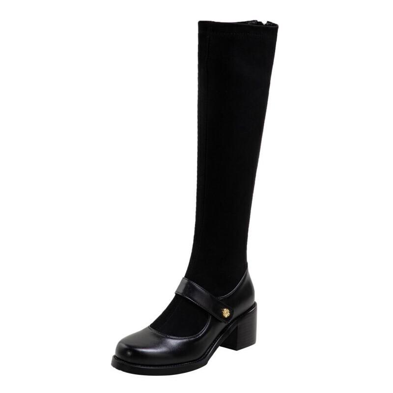 WARORWAR法国2019新品YG09-H623冬季欧美反绒粗跟鞋高跟鞋蕾丝女鞋潮流时尚潮鞋百搭潮牌弹力靴靴子骑士靴长靴