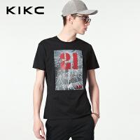 kikc短袖T恤男2018夏季新款丝光纯棉青少年印花休闲圆领上衣男士