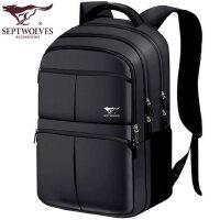 七匹狼韩版双肩包男士背包女中学生书包商务休闲电脑包旅行大容量