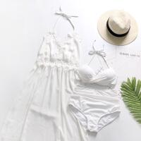 泳衣女性感小胸聚拢钢托雪纺小香风罩衫裙式分体游泳衣女三件套 白色
