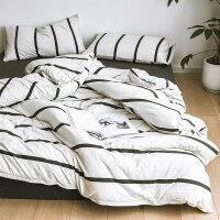 裸睡简约条纹纯棉针织床上用品全棉被套床单床笠三四件套学生套件