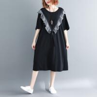 秋新款洋气减龄宽松遮肉中长款立体贴花黑白格子荷叶边短袖连衣裙