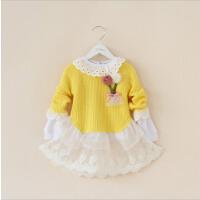 女童毛衣裙秋款新品韩版童装女儿童蕾丝网纱下摆糖果色纯棉线毛衣