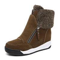 棉鞋女冬加绒内增高毛毛鞋厚底雪地靴女子真皮短靴高帮棉靴