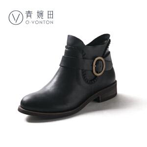 青婉田春冬2018新款女士靴子女中跟休闲舒适手工真皮复古短靴扣带