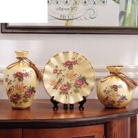 结婚礼物插花花器奢华装饰品创意欧式陶瓷花瓶三件套家居客厅摆件