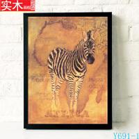 非洲动物装饰画黑白有框画长颈鹿大象客厅壁画手绘复古海报墙画