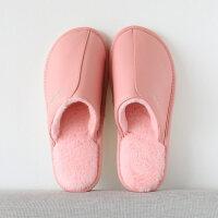 棉拖鞋女冬季居家情侣室内男冬防滑保暖厚底家用PU皮防水拖鞋男士