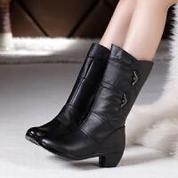 秋冬新款女棉靴中筒靴真皮中年妈妈靴子中跟中老年人女士粗跟皮靴SN0287