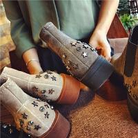 欧洲站秋季新款真皮短靴女英伦风切尔西靴五星水钻及裸靴平跟女靴