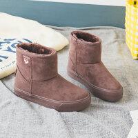 雪地靴女短筒2018冬季新款短靴韩版百搭学生棉鞋加绒保暖短靴子潮