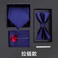 男士正装领带结婚新郎领结方巾藏蓝光面五件套礼盒装