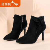 【红蜻蜓领�涣⒓�150】红蜻蜓女鞋秋冬新款真皮水钻荷叶边时装短靴细高跟女短靴