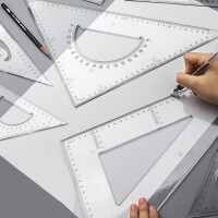 三角尺小学生文具套装绘图大号加厚多功能三角板量角器高精度塑料直角镂空曲线教师用20/25/30/35/40cm比例尺