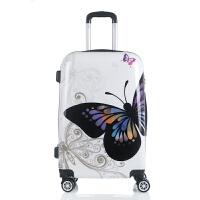 卡通蝴蝶镜面行李箱万向轮PC拉杆箱20寸24寸旅行箱包密码箱拖箱女 白色 蝴蝶