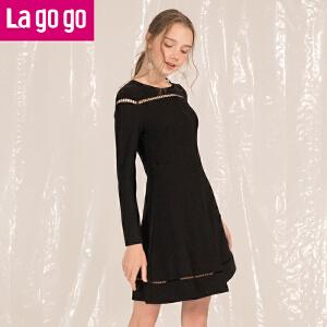 Lagogo2018年春季新款时尚圆领镂空长袖连衣裙显瘦黑色针织裙子女