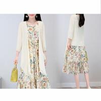 早春夏季珍珠雪纺两件套连衣裙女套装中长款修身七分袖碎花松紧裙